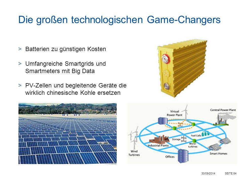 SEITE 54 Die großen technologischen Game-Changers >Batterien zu günstigen Kosten >Umfangreiche Smartgrids und Smartmeters mit Big Data >PV-Zellen und