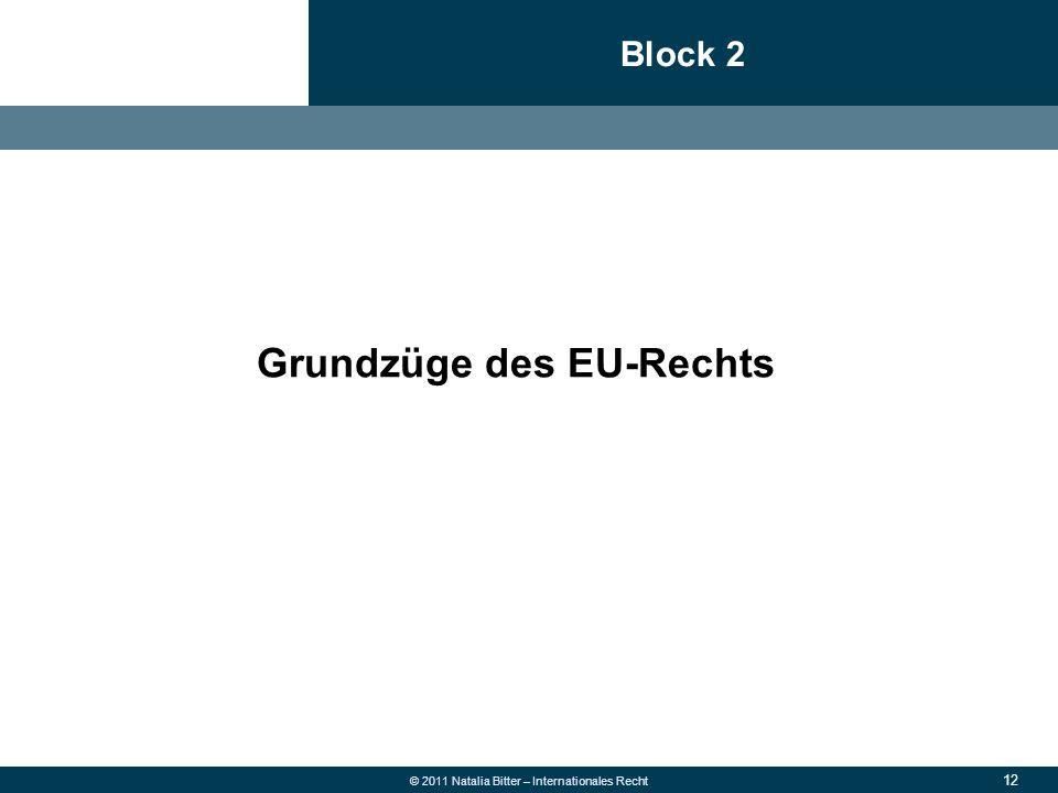 12 © 2011 Natalia Bitter – Internationales Recht Block 2 1.Allgemeine Grundsätze des neuen Rechts 2.Überweisung  Fehlüberweisung wegen falscher Konto