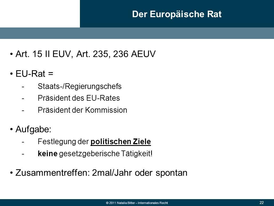 22 © 2011 Natalia Bitter – Internationales Recht Art. 15 II EUV, Art. 235, 236 AEUV EU-Rat = -Staats-/Regierungschefs -Präsident des EU-Rates -Präside
