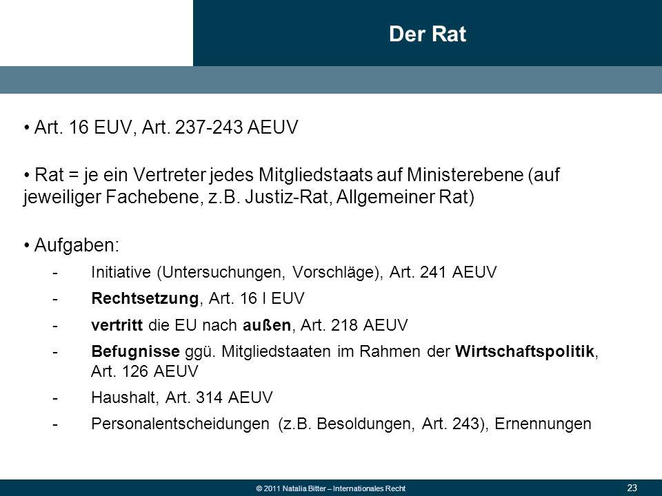 23 © 2011 Natalia Bitter – Internationales Recht Art. 16 EUV, Art. 237-243 AEUV Rat = je ein Vertreter jedes Mitgliedstaats auf Ministerebene (auf jew