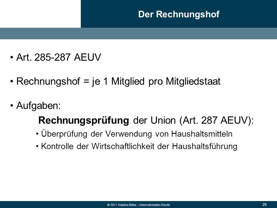29 © 2011 Natalia Bitter – Internationales Recht Art. 285-287 AEUV Rechnungshof = je 1 Mitglied pro Mitgliedstaat Aufgaben: Rechnungsprüfung der Union