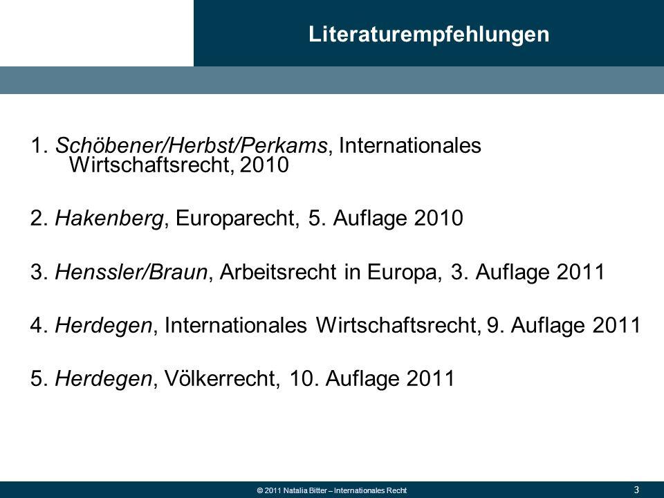 74 © 2011 Natalia Bitter – Internationales Recht WTO = Völkerrechtssubjekt 153 Mitglieder (D seit 1.1.1995): gemeinsam über 97 % des Welthandels Pflicht der Mitgliedstaaten: Beachtung der WTO-Bestimmungen bei der Ausgestaltung nationaler Gesetze, Verordnungen und Verwaltungsmaßnahmen (Art.