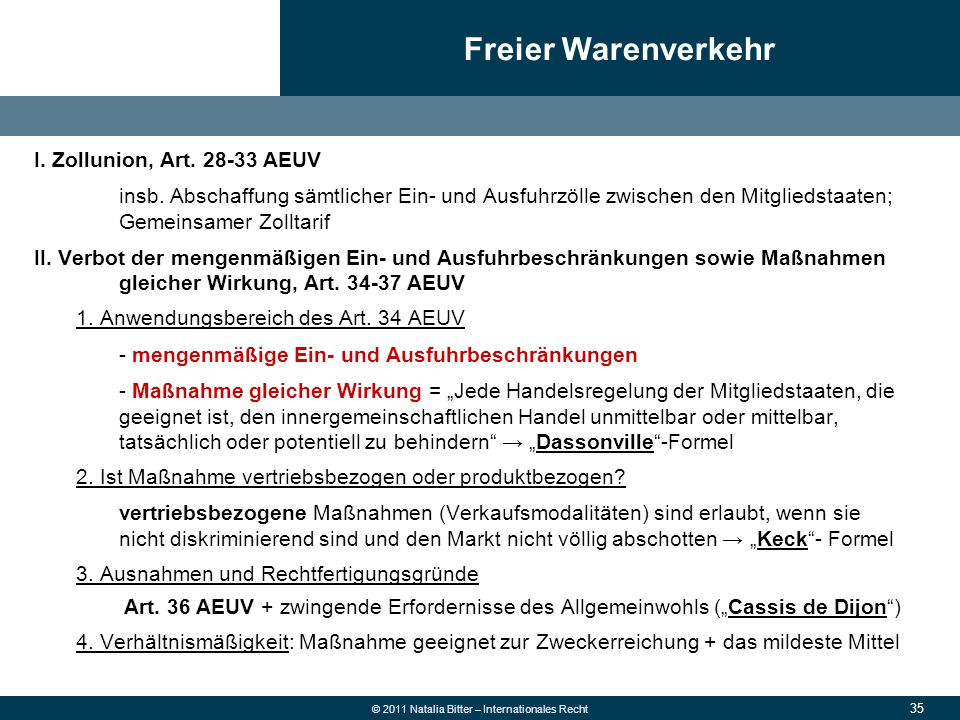 35 © 2011 Natalia Bitter – Internationales Recht I. Zollunion, Art. 28-33 AEUV insb. Abschaffung sämtlicher Ein- und Ausfuhrzölle zwischen den Mitglie