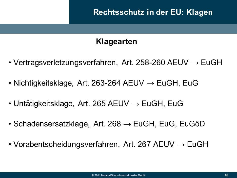 40 © 2011 Natalia Bitter – Internationales Recht Klagearten Vertragsverletzungsverfahren, Art. 258-260 AEUV → EuGH Nichtigkeitsklage, Art. 263-264 AEU