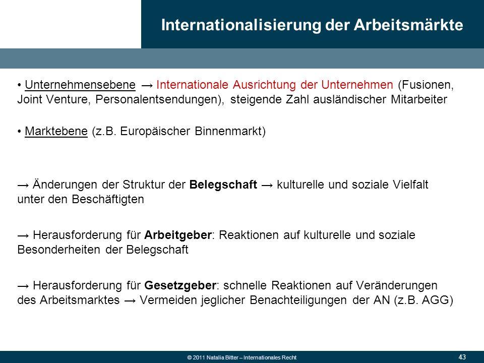 43 © 2011 Natalia Bitter – Internationales Recht Unternehmensebene → Internationale Ausrichtung der Unternehmen (Fusionen, Joint Venture, Personalents