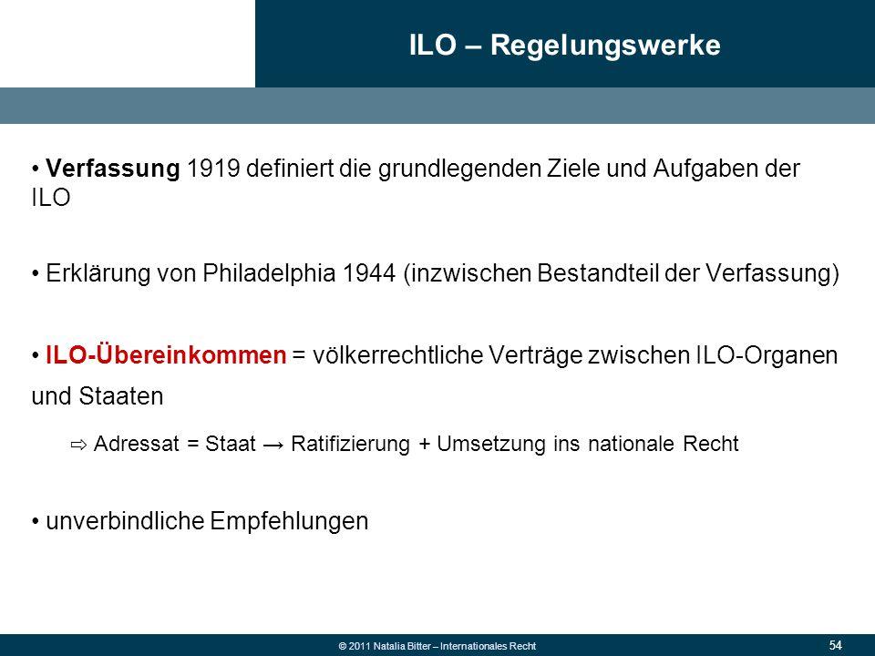 54 © 2011 Natalia Bitter – Internationales Recht Verfassung 1919 definiert die grundlegenden Ziele und Aufgaben der ILO Erklärung von Philadelphia 194