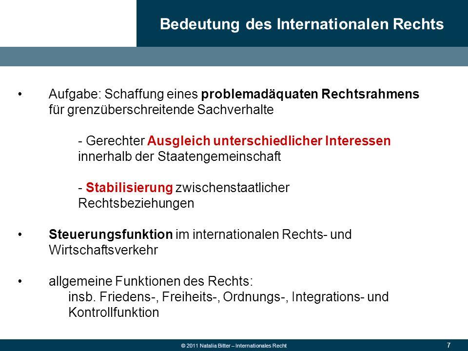 """78 © 2011 Natalia Bitter – Internationales Recht """"Hauptpfeiler des WTO-Systems Ziele (siehe Präambel): - wesentliche Herabsetzung der Zolltarife - sowie und anderer Handelsschranken - Absicherung und Gestaltung der internationalen Handelsbeziehungen - Beseitigung von Diskriminierungen auf dem Gebiete des internationalen Handels => Optimale Rahmenbedingungen für Investitionen, Schaffung von Arbeitsplätzen und wirtschaftliche Betätigung GATT 1994"""