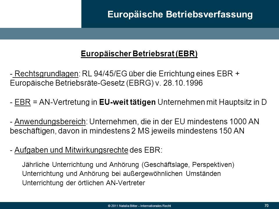 70 © 2011 Natalia Bitter – Internationales Recht Europäischer Betriebsrat (EBR) - Rechtsgrundlagen: RL 94/45/EG über die Errichtung eines EBR + Europä