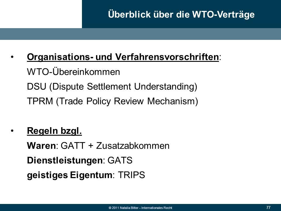 77 © 2011 Natalia Bitter – Internationales Recht Organisations- und Verfahrensvorschriften: WTO-Übereinkommen DSU (Dispute Settlement Understanding) T
