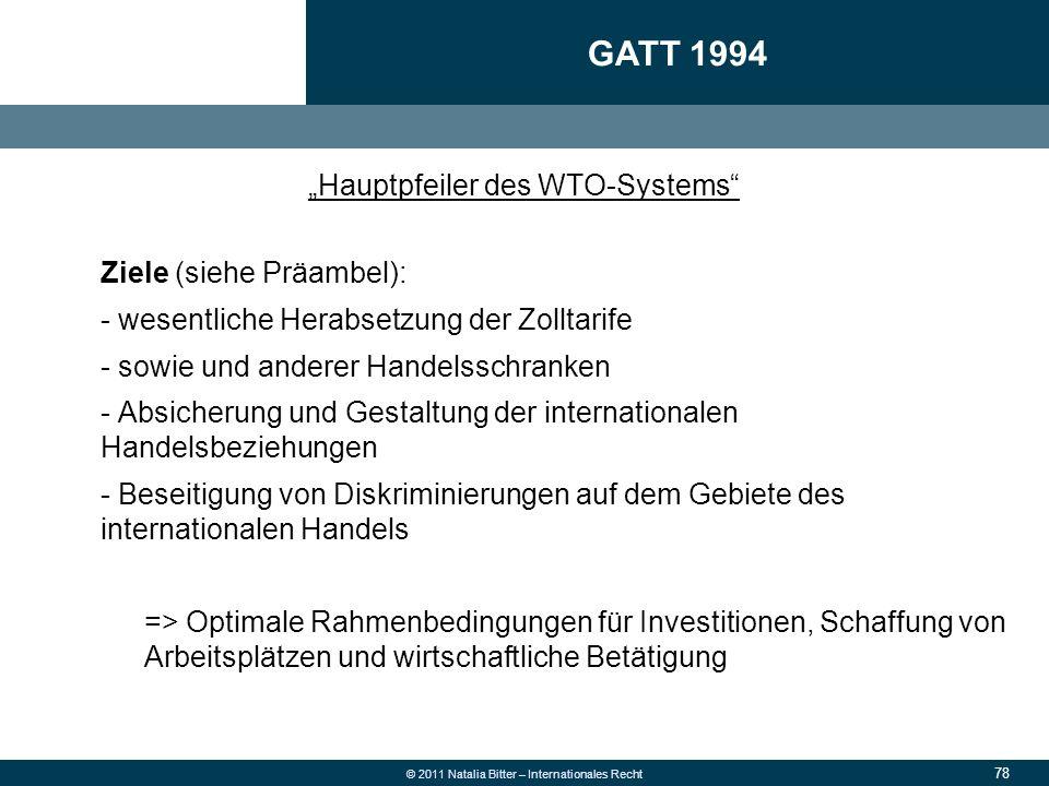 """78 © 2011 Natalia Bitter – Internationales Recht """"Hauptpfeiler des WTO-Systems"""" Ziele (siehe Präambel): - wesentliche Herabsetzung der Zolltarife - so"""