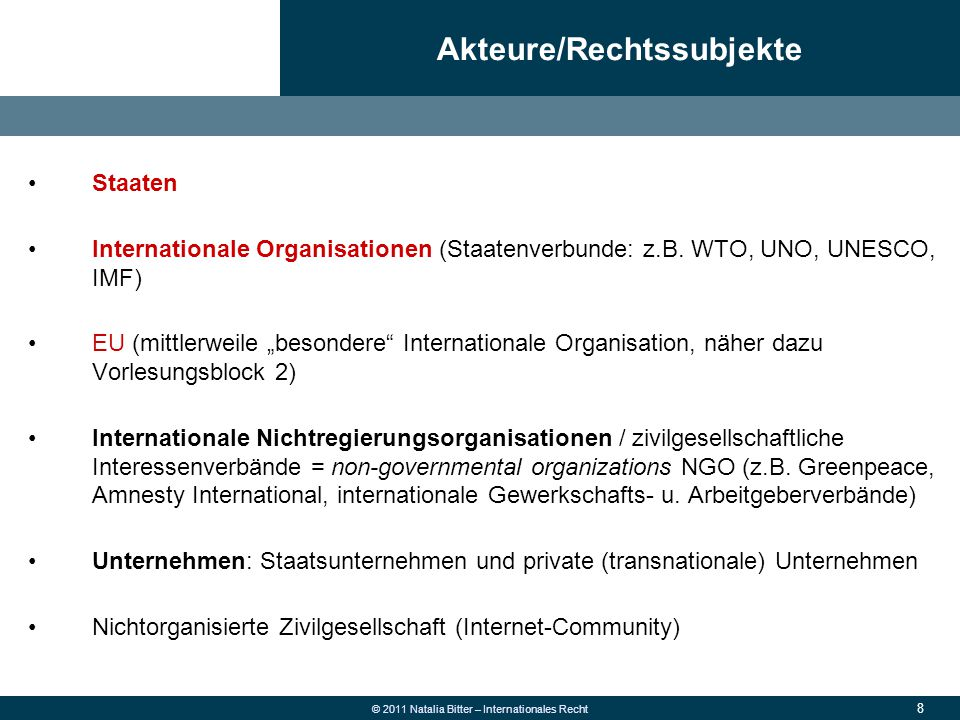 8 © 2011 Natalia Bitter – Internationales Recht Akteure/Rechtssubjekte Staaten Internationale Organisationen (Staatenverbunde: z.B. WTO, UNO, UNESCO,