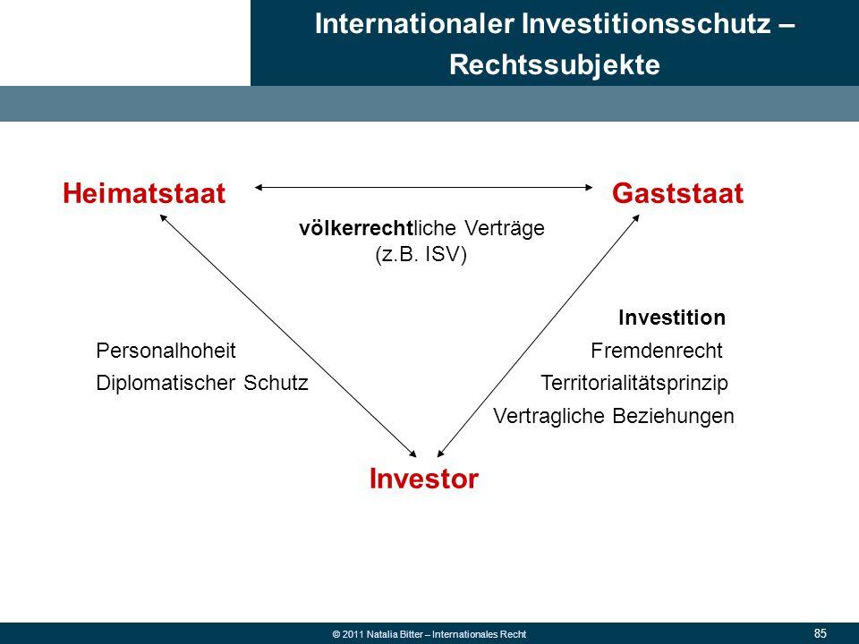 85 © 2011 Natalia Bitter – Internationales Recht Internationaler Investitionsschutz – Rechtssubjekte 1.Allgemeine Grundsätze des neuen Rechts 2.Überwe