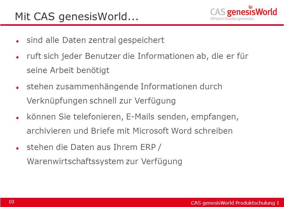 CAS genesisWorld Produktschulung I 10 Mit CAS genesisWorld... l sind alle Daten zentral gespeichert l ruft sich jeder Benutzer die Informationen ab, d