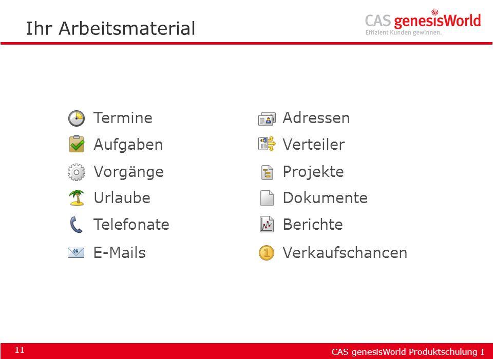 CAS genesisWorld Produktschulung I 11 Ihr Arbeitsmaterial Termine Aufgaben Vorgänge Urlaube Adressen Projekte Dokumente E-Mails Telefonate Verkaufscha