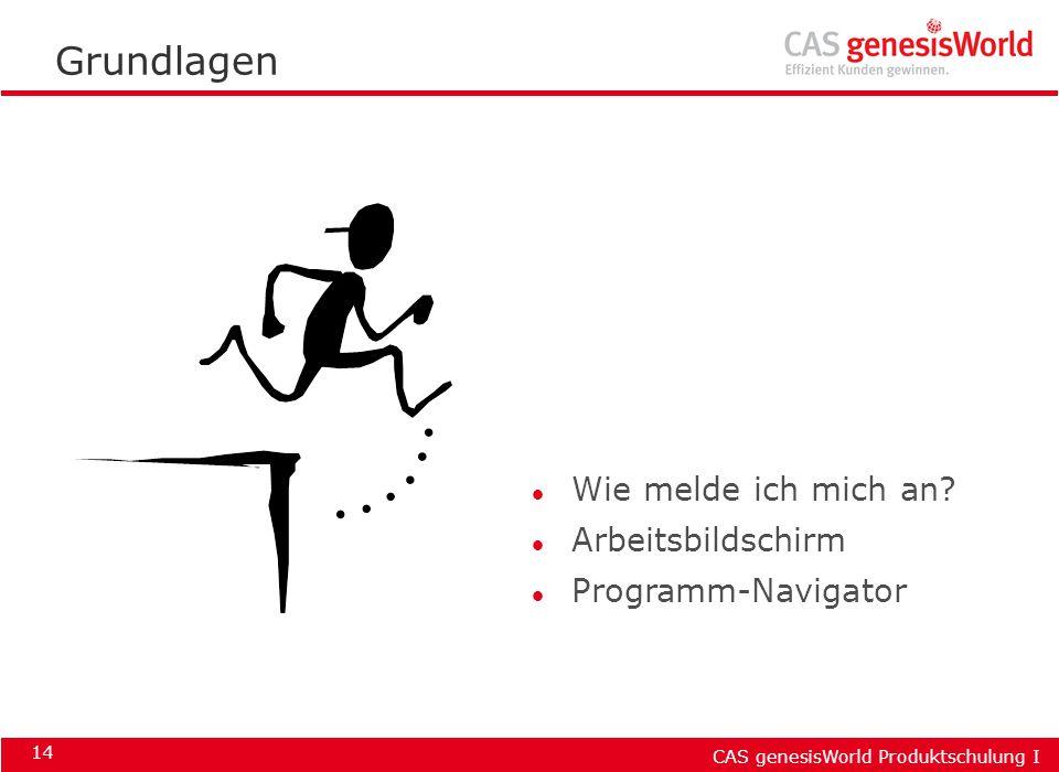CAS genesisWorld Produktschulung I 14 Grundlagen l Wie melde ich mich an? l Arbeitsbildschirm l Programm-Navigator