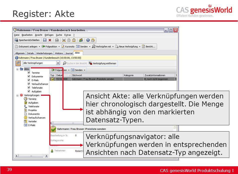 CAS genesisWorld Produktschulung I 39 Register: Akte Ansicht Akte: alle Verknüpfungen werden hier chronologisch dargestellt. Die Menge ist abhängig vo