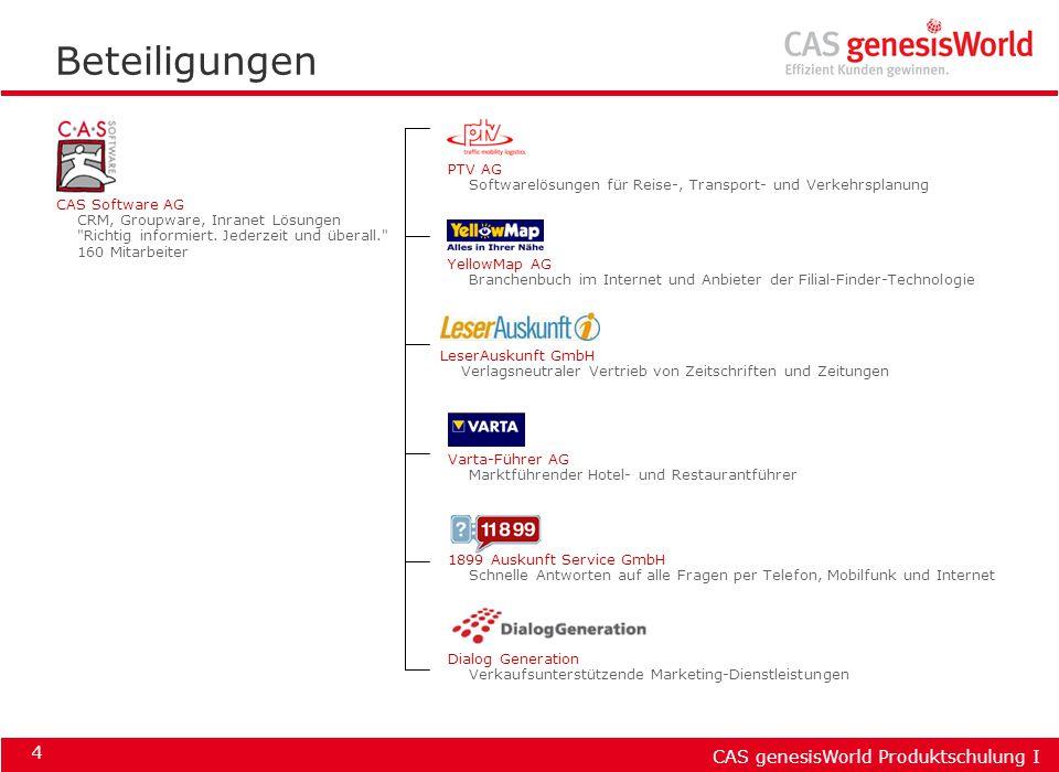 CAS genesisWorld Produktschulung I 4 Beteiligungen PTV AG Softwarelösungen für Reise-, Transport- und Verkehrsplanung YellowMap AG Branchenbuch im Int