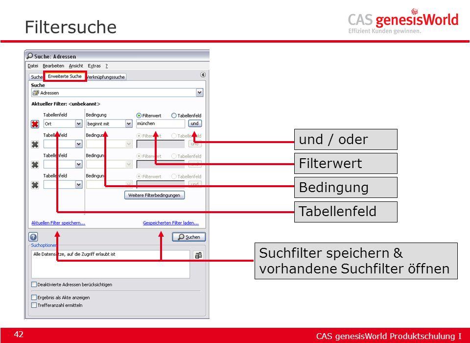 CAS genesisWorld Produktschulung I 42 Filtersuche Suchfilter speichern & vorhandene Suchfilter öffnen Tabellenfeld Bedingung Filterwert und / oder