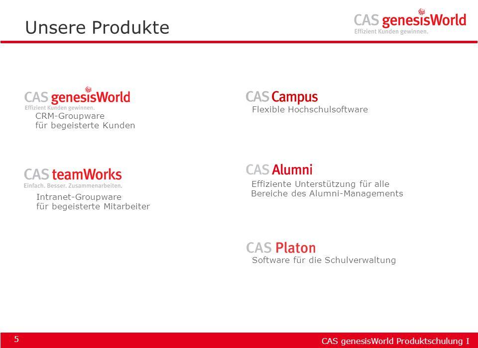 CAS genesisWorld Produktschulung I 16 Der Arbeitsbildschirm Titelzeile Menüleiste Symbolleisten Programm- Navigator Anzeigebereich Statusleiste