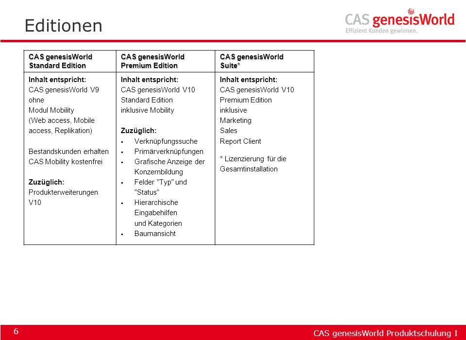 CAS genesisWorld Produktschulung I 6 Editionen CAS genesisWorld Standard Edition CAS genesisWorld Premium Edition CAS genesisWorld Suite* Inhalt entsp