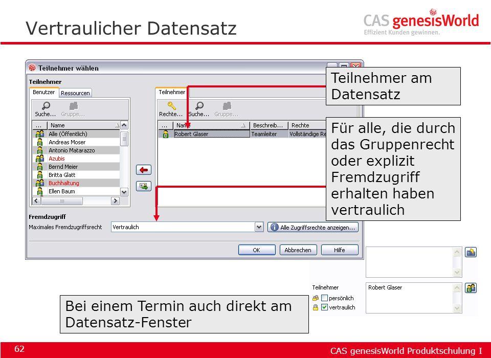 CAS genesisWorld Produktschulung I 62 Vertraulicher Datensatz Für alle, die durch das Gruppenrecht oder explizit Fremdzugriff erhalten haben vertrauli