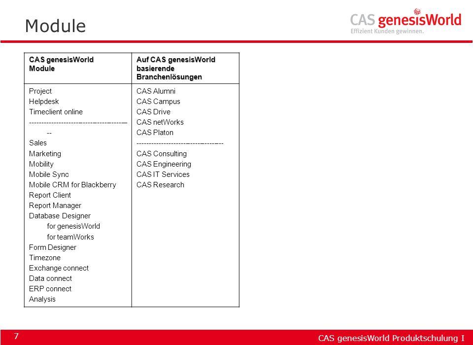 CAS genesisWorld Produktschulung I 18 Die Bedienung verschieben durch Drag&Drop umbenennen durch Zweifachklick löschen durch Markieren & Entf -Taste Zweig ein- und ausblenden