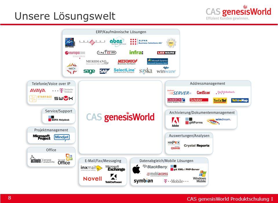 CAS genesisWorld Produktschulung I 29 Löschen & wiederherstellen Datensatz markieren: Entf-Taste, Symbol Im Papierkorb den Datensatz markieren: Symbol oder Kontextmenü: Wiederherstellen