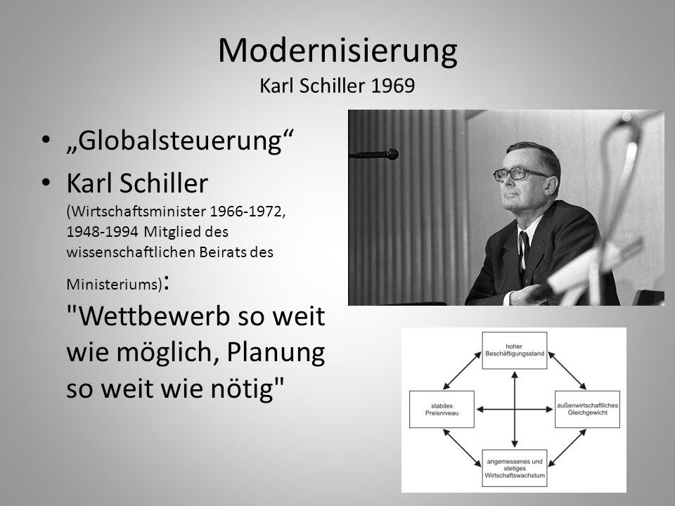 """Modernisierung Karl Schiller 1969 """"Globalsteuerung"""" Karl Schiller (Wirtschaftsminister 1966-1972, 1948-1994 Mitglied des wissenschaftlichen Beirats de"""