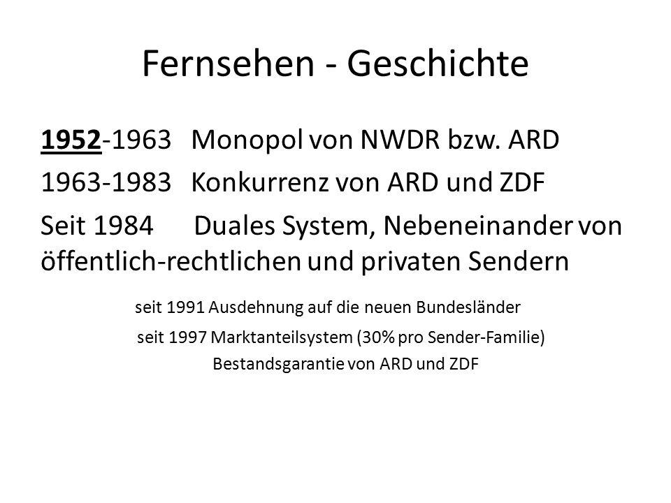 Fernsehen - Geschichte 1950 Gründung ARD – politisch pädagogisch orientiert 1961 Gründung ZDF – informativ u.