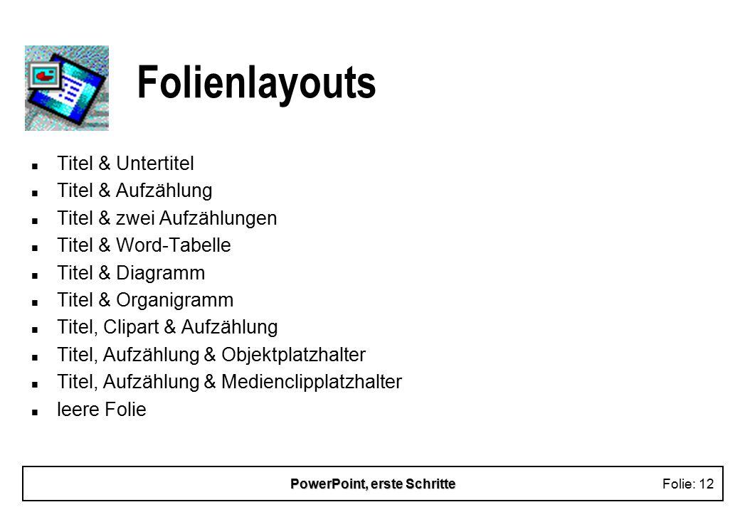 PowerPoint, erste SchritteFolie: 12 Folienlayouts n Titel & Untertitel n Titel & Aufzählung n Titel & zwei Aufzählungen n Titel & Word-Tabelle n Titel