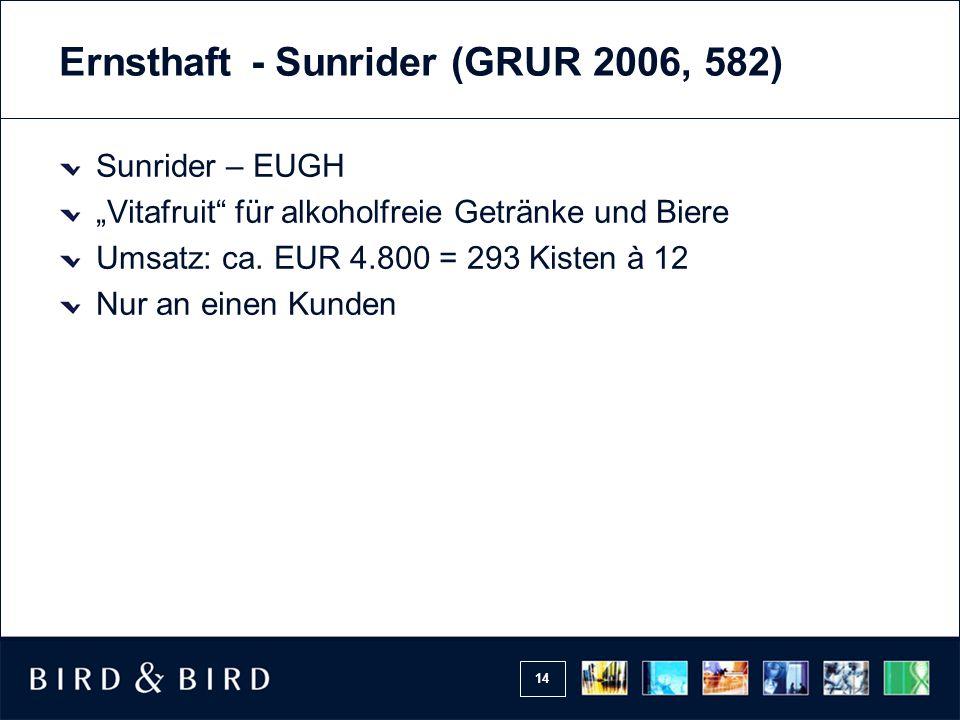 """14 Ernsthaft- Sunrider (GRUR 2006, 582) Sunrider – EUGH """"Vitafruit für alkoholfreie Getränke und Biere Umsatz: ca."""