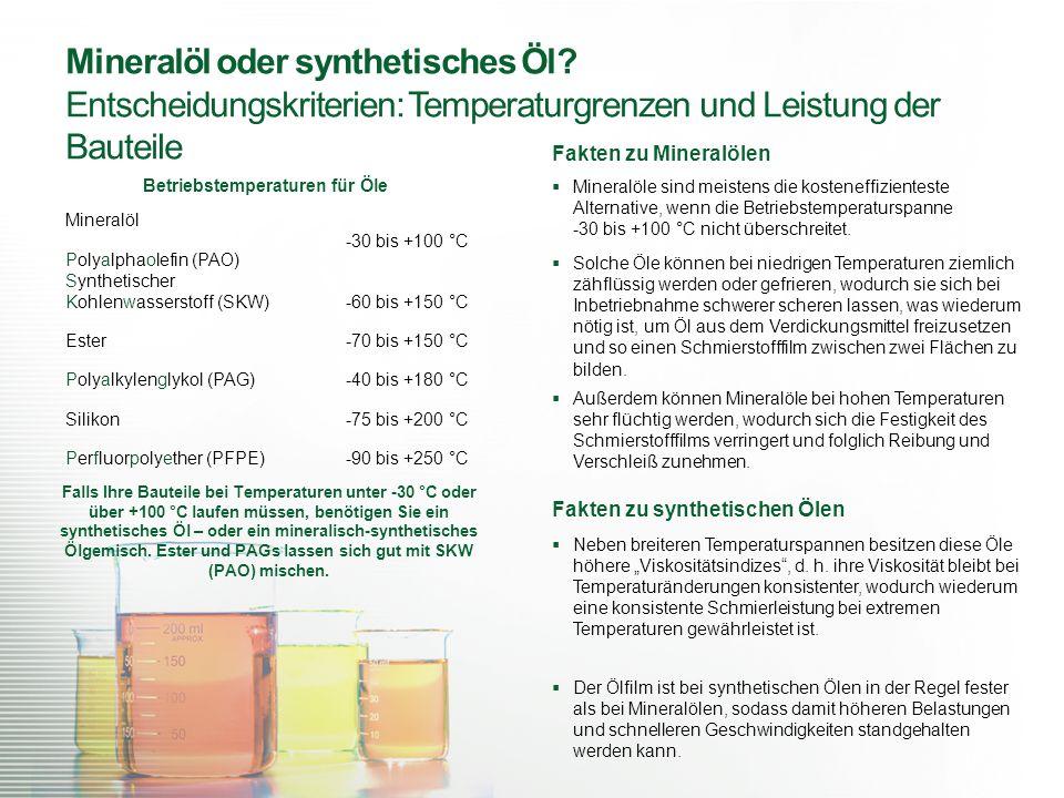 Mineralöl oder synthetisches Öl? Entscheidungskriterien: Temperaturgrenzen und Leistung der Bauteile Mineralöl -30 bis +100 °C Falls Ihre Bauteile bei