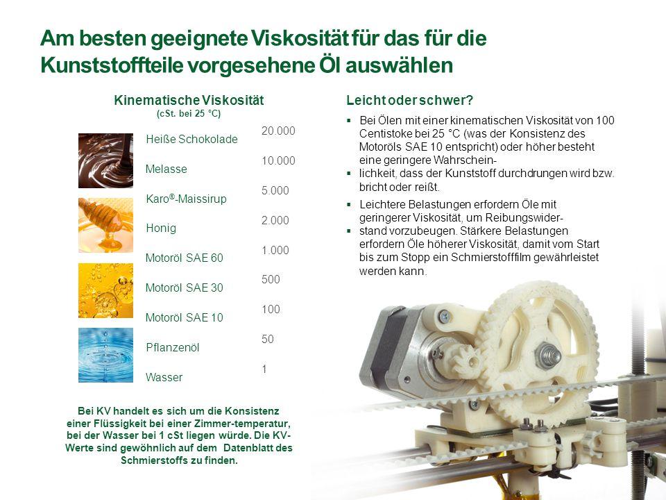 Am besten geeignete Viskosität für das für die Kunststoffteile vorgesehene Öl auswählen  Leichtere Belastungen erfordern Öle mit geringerer Viskosität, um Reibungswider-  stand vorzubeugen.