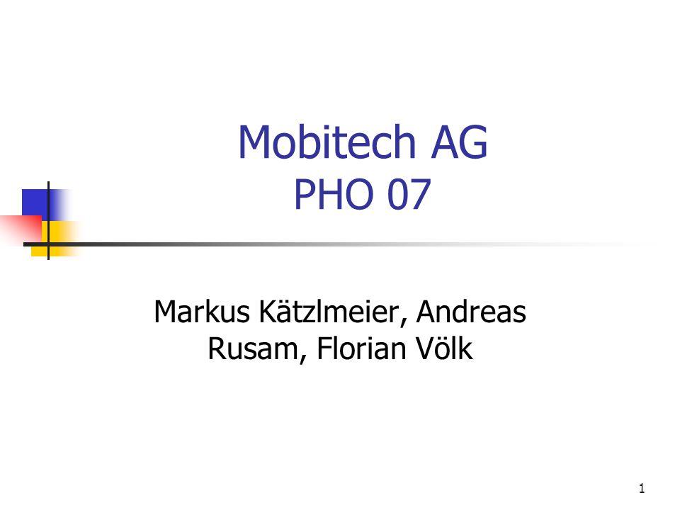 Mobitech AG Markus Kätzlmeier, Andreas Rusam, Florian Völk 12 Publicrelations Berichte der umweltschonenden Herstellung Plakate über Umweltbewusstsein Spenden für Umweltschutz Co Sponsor der BUGA 2007