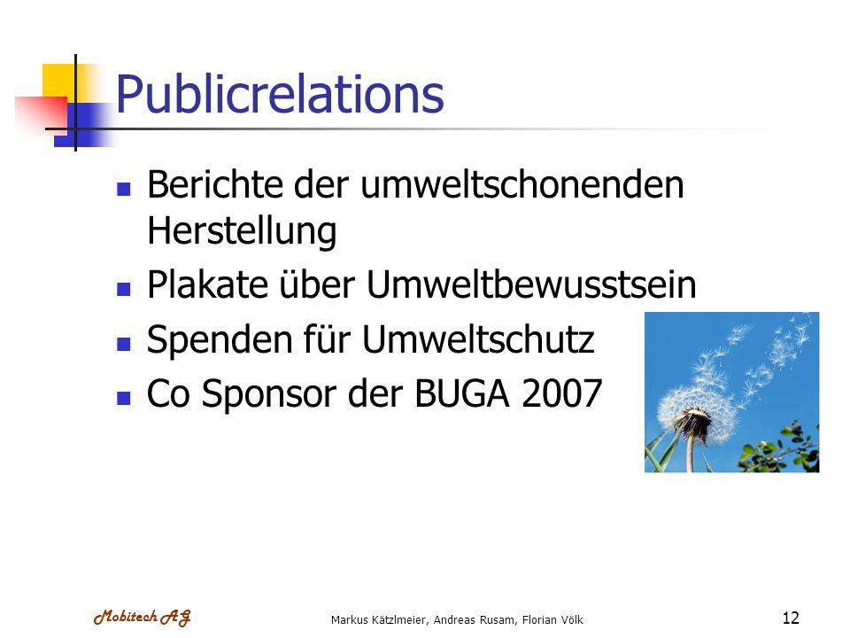 Mobitech AG Markus Kätzlmeier, Andreas Rusam, Florian Völk 12 Publicrelations Berichte der umweltschonenden Herstellung Plakate über Umweltbewusstsein