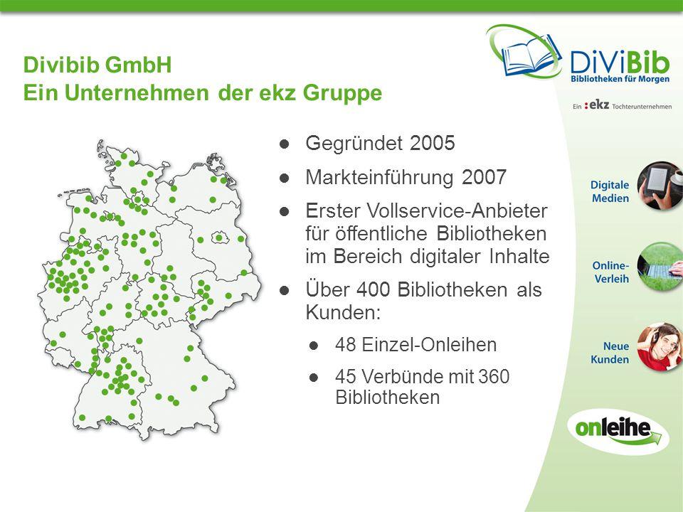 Divibib GmbH Ein Unternehmen der ekz Gruppe Gegründet 2005 Markteinführung 2007 Erster Vollservice-Anbieter für öffentliche Bibliotheken im Bereich digitaler Inhalte Über 400 Bibliotheken als Kunden: 48 Einzel-Onleihen 45 Verbünde mit 360 Bibliotheken