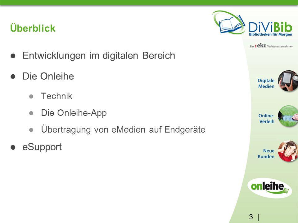 3 | Überblick Entwicklungen im digitalen Bereich Die Onleihe Technik Die Onleihe-App Übertragung von eMedien auf Endgeräte eSupport