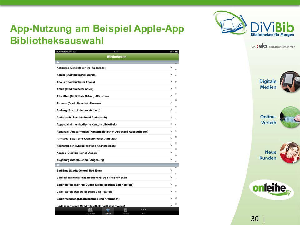 30 | App-Nutzung am Beispiel Apple-App Bibliotheksauswahl