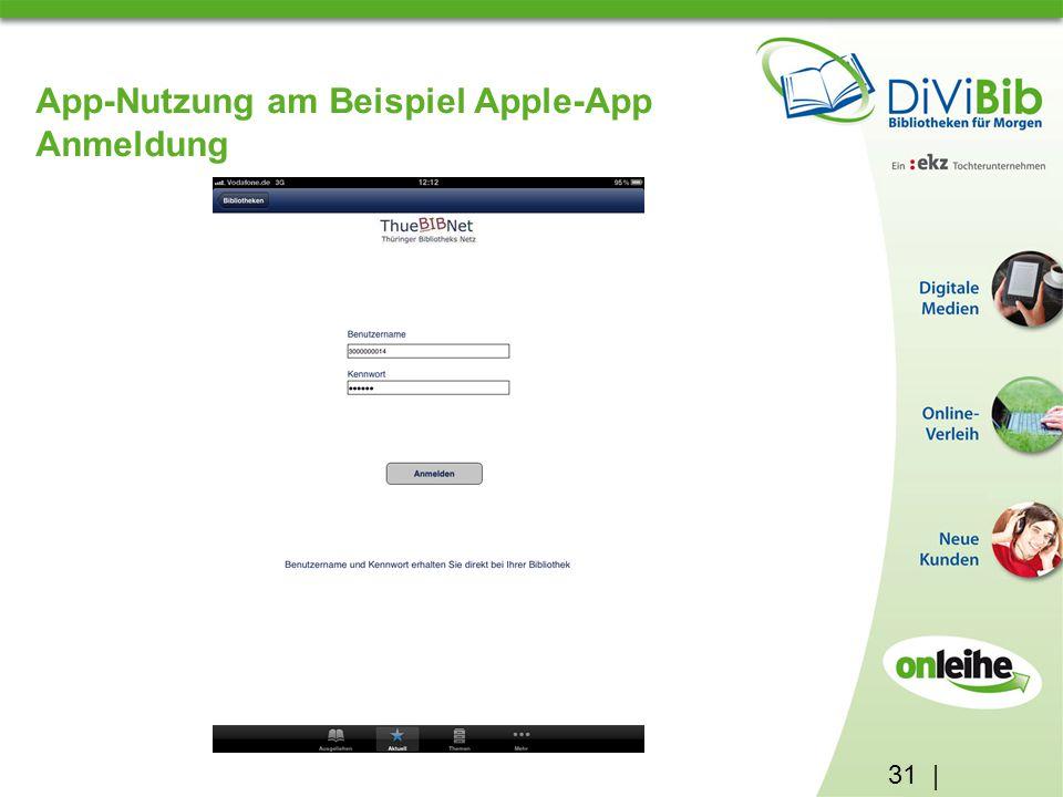 31 | App-Nutzung am Beispiel Apple-App Anmeldung