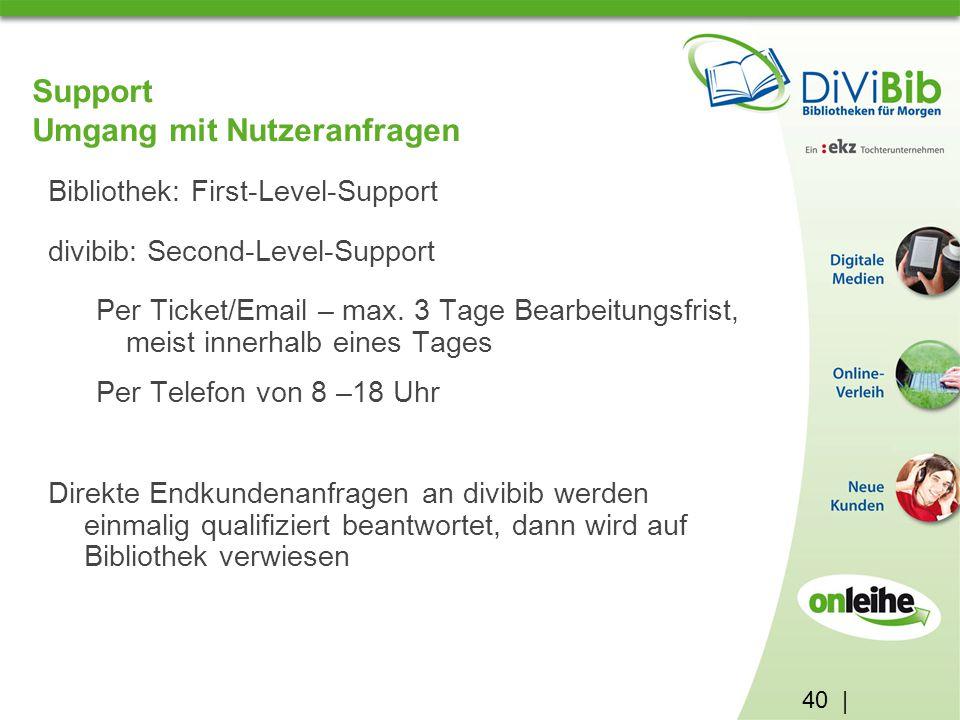 40 | Support Umgang mit Nutzeranfragen Bibliothek: First-Level-Support divibib: Second-Level-Support Per Ticket/Email – max.