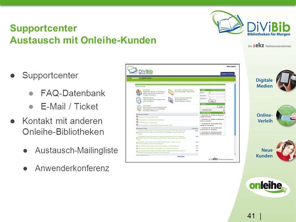 41 | Supportcenter Austausch mit Onleihe-Kunden Supportcenter FAQ-Datenbank E-Mail / Ticket Kontakt mit anderen Onleihe-Bibliotheken Austausch-Mailingliste Anwenderkonferenz