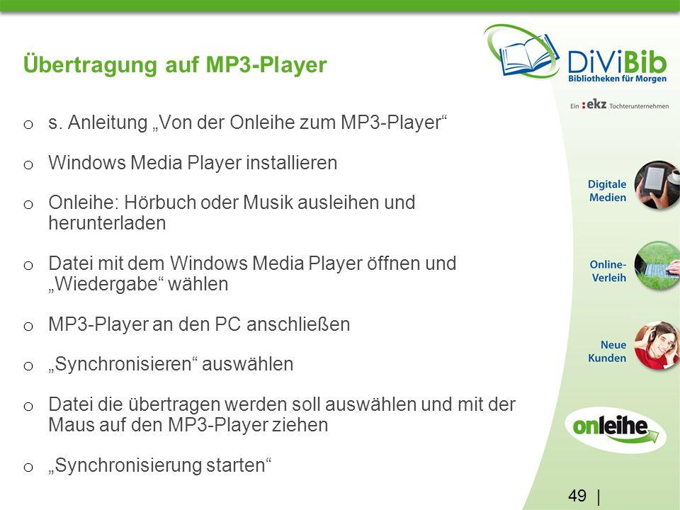 49 | Übertragung auf MP3-Player o s.
