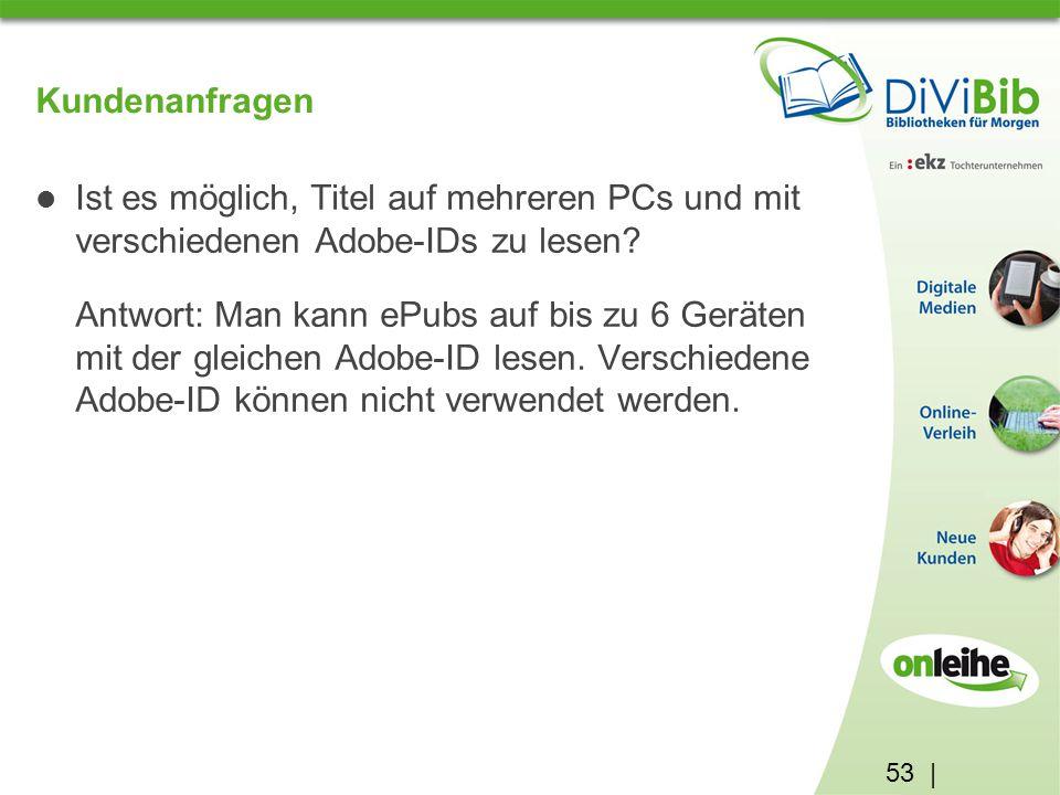 53 | Kundenanfragen Ist es möglich, Titel auf mehreren PCs und mit verschiedenen Adobe-IDs zu lesen.