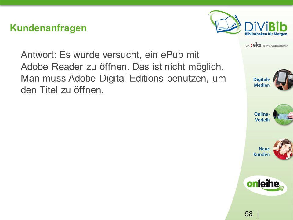 58 | Kundenanfragen Antwort: Es wurde versucht, ein ePub mit Adobe Reader zu öffnen.