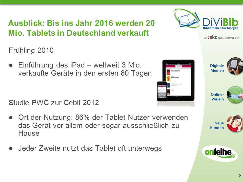 Entwicklungen im digitalen Bereich Internet für unterwegs Seit April 2011: Apple-App für eBooks im ePub-Format Seit Juli 2011: Android-App für eBooks im ePub-Format