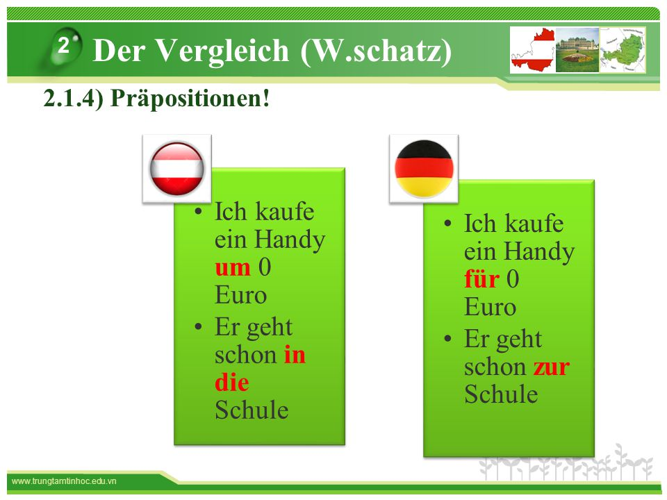 www.trungtamtinhoc.edu.vn Der Vergleich (W.schatz) 2 2.1.4) Präpositionen.