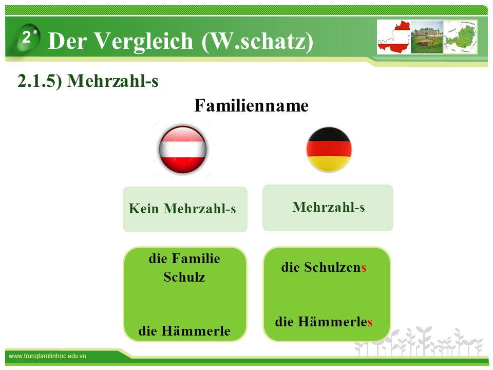 www.trungtamtinhoc.edu.vn Mehrzahl-s Kein Mehrzahl-s die Familie Schulz die Hämmerle die Schulzens die Hämmerles Familienname Der Vergleich (W.schatz) 2 2.1.5) Mehrzahl-s