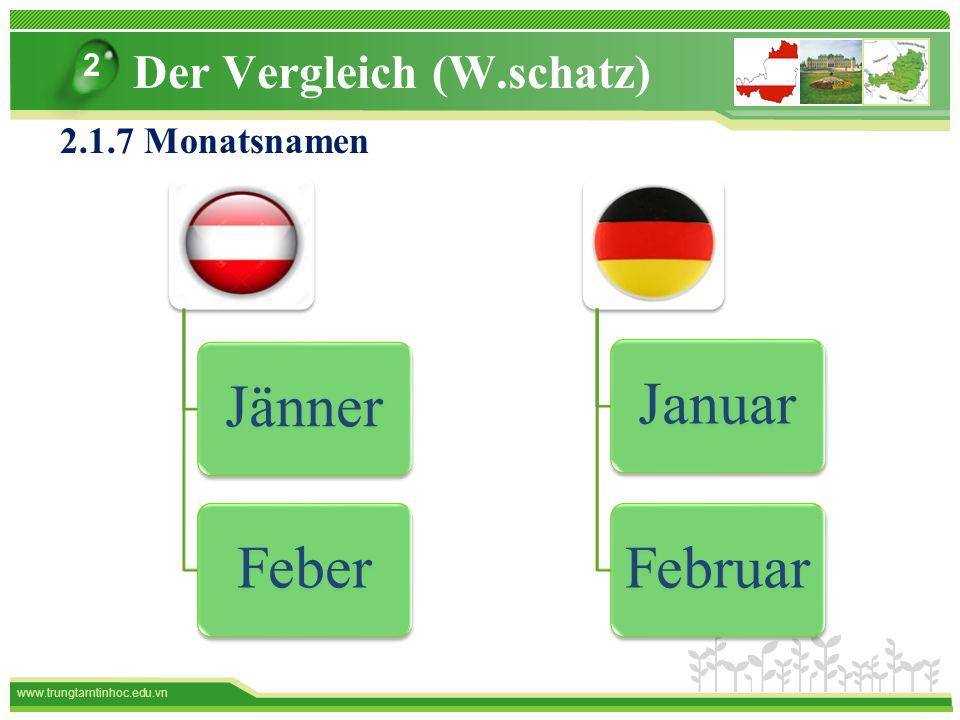 www.trungtamtinhoc.edu.vn Der Vergleich (W.schatz) 2 2.1.7 Monatsnamen Januar Februar JännerFeber