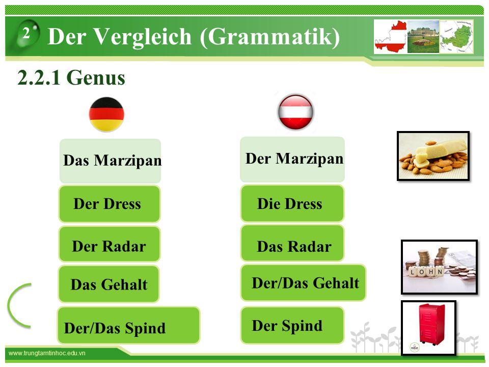 www.trungtamtinhoc.edu.vn Der Vergleich (Grammatik) 2 2.2.1 Genus Der Marzipan Das Marzipan Der/Das Gehalt Das Gehalt Die DressDer Dress Das Radar Der Radar Der Spind Der/Das Spind