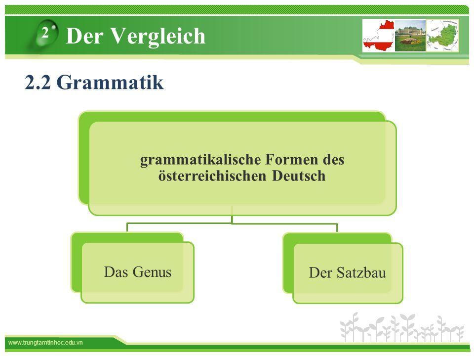 www.trungtamtinhoc.edu.vn Der Vergleich grammatikalische Formen des österreichischen Deutsch Das GenusDer Satzbau 2 2.2 Grammatik